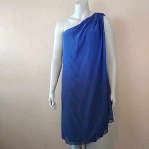 blu sage Dresses - Plus Size One Shoulder Ombre Navy Blue Dress Sz 16